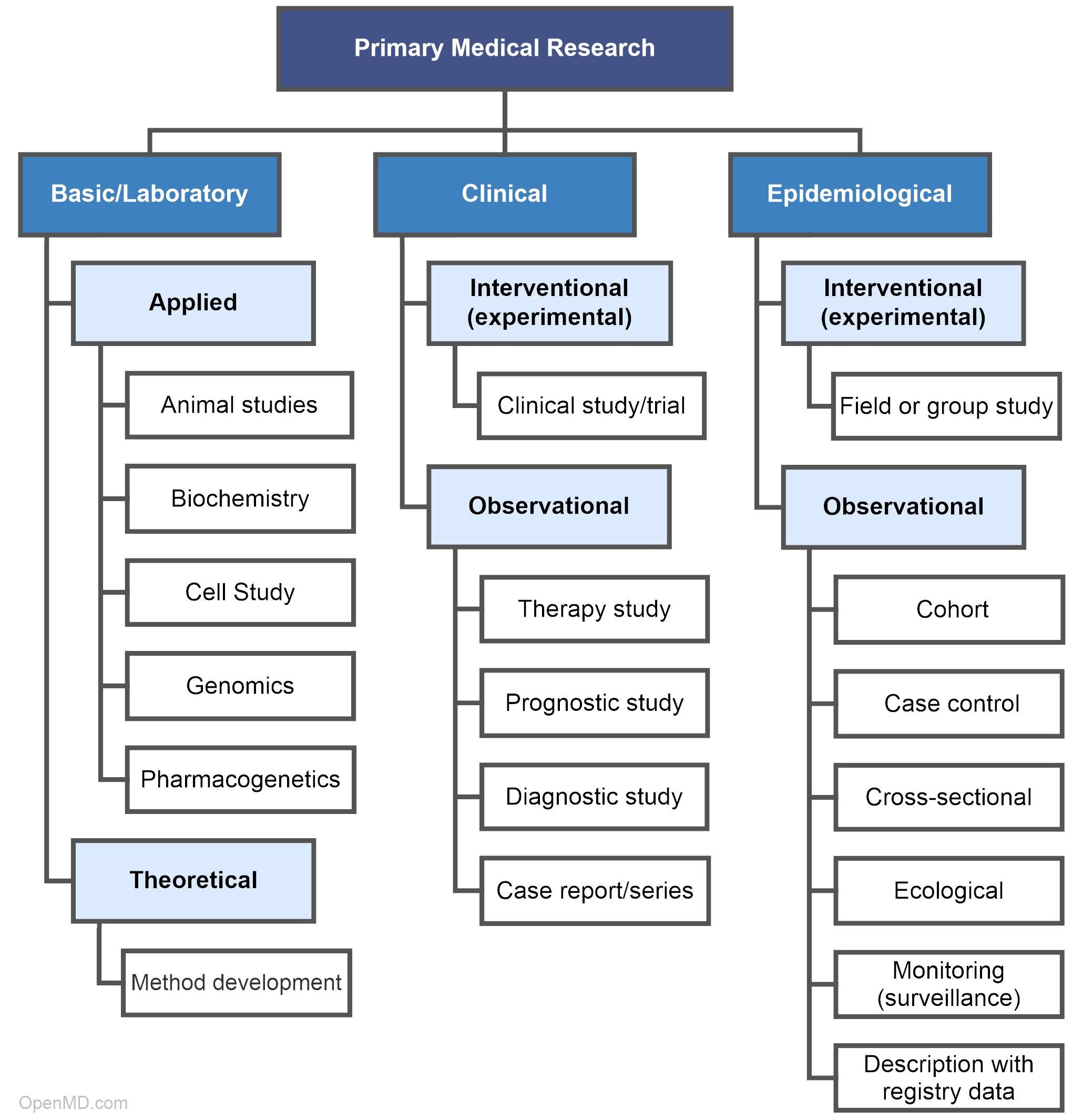 Hierarchy of primary medical research